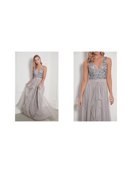 Yasmin Grey Chiffon Maxi Dress With Embellishments by Sistaglam