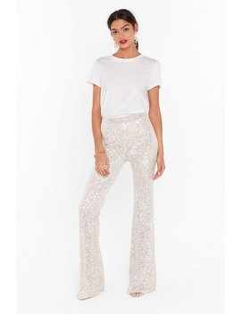 Born To Sequin High Waisted Flared Pants by Nasty Gal