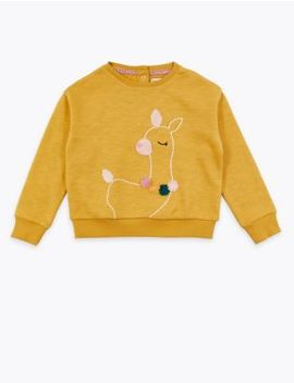 Cotton Llama Print Jumper (3 Months   7 Years) by Marks & Spencer