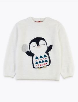 Penguin Print Jumper (3 Months   7 Years) by Marks & Spencer