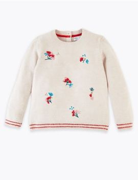 Floral Embroidered Knitted Jumper (3 Months   7 Years) by Marks & Spencer