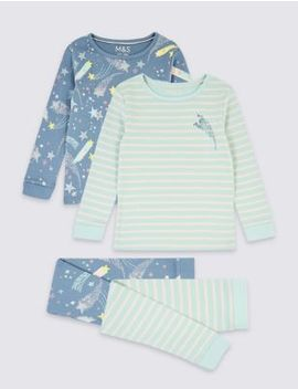 2 Pack Cotton Star Print Pyjama Set (1 7 Years) by Marks & Spencer