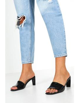 Low Flat Heel Croc Mules by Boohoo
