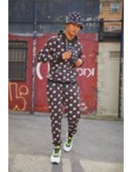 M White & Red Repeat Printed Hooded Tracksuit by Boohoo Man