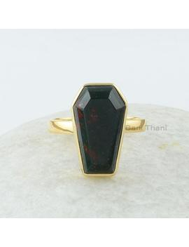 Coffin Ring, Bloodstone 10x17 Mm Coffin Shape Gemstone Silver Ring, Gold Plated Bezel Ring, Black Coffin Ring, 925 Silver Blood Stone Ring by Etsy