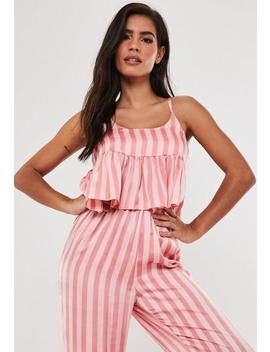 Pink Satin Stripe Peplum Cami Pyjama Top by Missguided