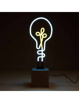 Exclusive Lightbulb Neon Light   Concrete Base by Iwoot