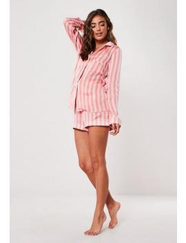 Pink Satin Stripe Pyjama Shorts by Missguided