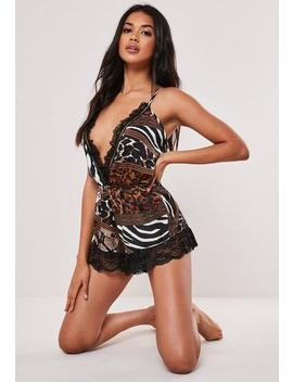 Brown Animal Print Satin Lace Teddy by Missguided