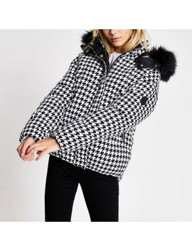 White Dogtooth Check Padded Coat by River Island
