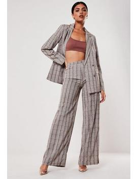 Brown Check Print Co Ord Wide Leg Trousers by Missguided