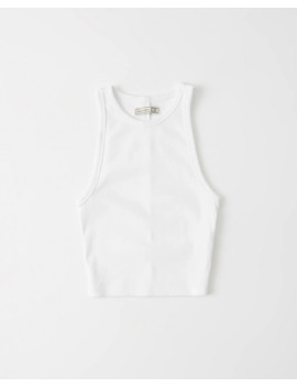 High Neck Ribbed Crop Top by Abercrombie & Fitch
