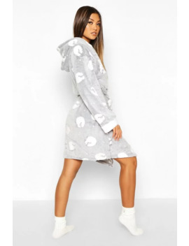 Soft Fleece Sheep Print Hooded Dressing Gown by Boohoo