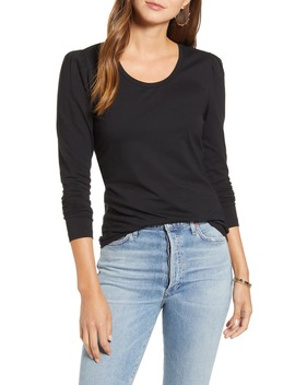 Slim Fit Pretty Sleeve Stretch Cotton Top by Rachel Parcell