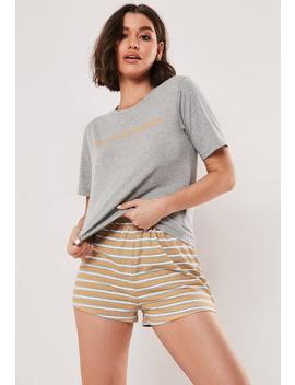Grey My Sunshine T Shirt And Short Slogan Pyjama Set by Missguided