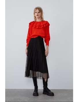 חצאית טול עם קפלים by Zara
