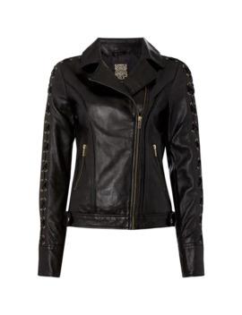 Eyelet Trim Leather Jacket by Biba