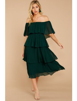 See It Happen Hunter Green Dress by Just Me