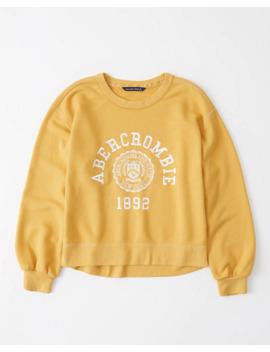 Puff Sleeve Logo Crew Sweatshirt by Abercrombie & Fitch