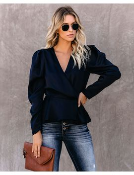 Need Your Love Satin Wrap Peplum Blouse   Navy by Vici