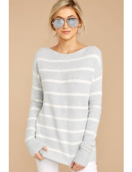 Friend Of Mine Grey Striped Sweater by Be Cool