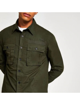 Dark Green Long Sleeve Regular Fit Overshirt by River Island