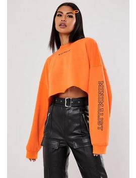 Jordan Lipscombe X Missguided Orange Minimalist Embroidered Crop Sweatshirt by Missguided