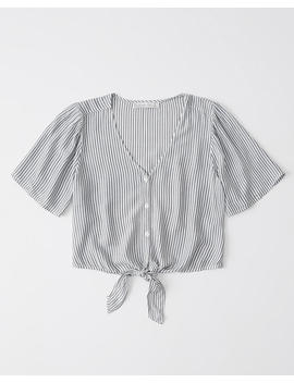 Short Sleeve Tie Front Top by Abercrombie & Fitch