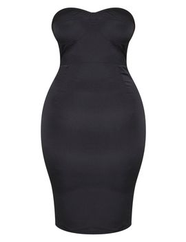 Plus Black Corset Midi Dress  by Prettylittlething