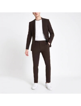 Brown Skinny Fit Suit Trousers    Brown Skinny Fit Suit Jacket by River Island
