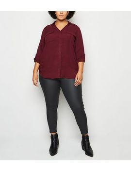 Curves Black Coated 'lift & Shape' Skinny Jeans by New Look
