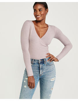 Long Sleeve Wrap Front Bodysuit by Abercrombie & Fitch