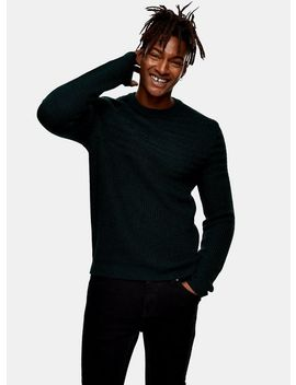 Green And Navy Twist Rack Yoke Panel Jumper by Topman