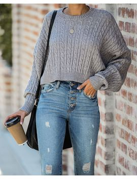 Dionne Cropped Cable Knit Sweater   Heather Grey by Vici