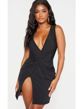 Shape Black Slinky Wrap Detail Bodycon Dress by Prettylittlething