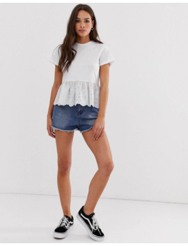 Asos Design   Top Smocké Avec Ourlet Brodé by Asos Design