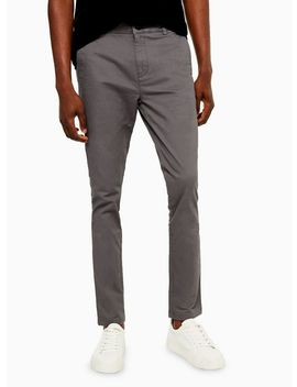 Charcoal Grey Stretch Skinny Chinos by Topman