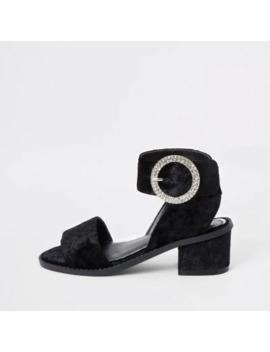 Girls Black Velvet Heeled Sandals by River Island
