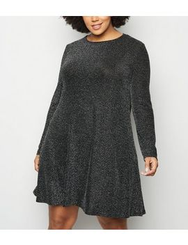Blue Vanilla Curves Black Glitter Swing Dress by New Look