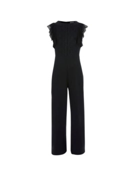 Girls Black Lace Front Frill Sleeve Jumpsuit by River Island