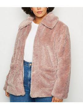 Curves Pink Teddy Jacket by New Look
