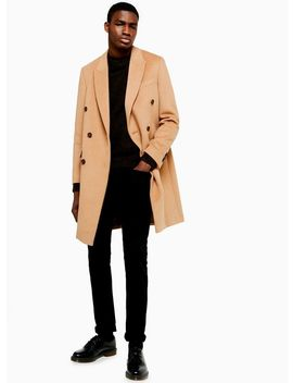 Camel Double Breasted Coat With Wool by Topman