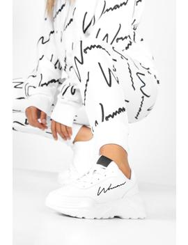 Embroidered Woman Slogan Chunky Trainers by Boohoo