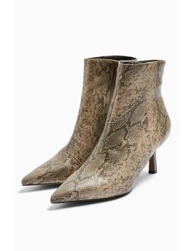 Maci Snake Print Pointed Boots by Topshop