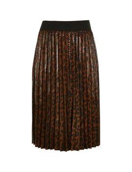 Girls Brown Leopard Print Pleated Midi Skirt by River Island