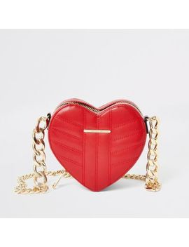Red Quilted Heart Shaped Cross Body Bag by River Island