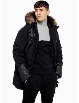 Black Parka Jacket With Faux Fur Hood by Topman