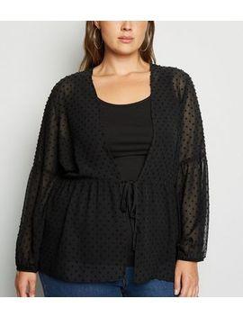 Curves Black Chiffon Spot Peplum Kimono by New Look