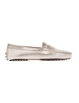 Gommino Embossed Metallic Leather Loafers by Tod's