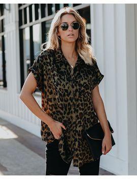 Attitude Of Gratitude Button Down Leopard Top by Vici
